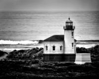Dark Lighthouse Against a Sullen Sea, Monochrome